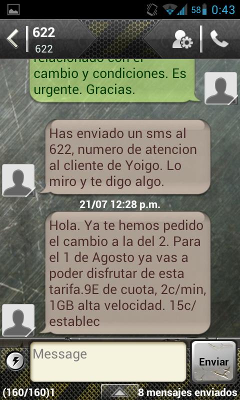 Tercera Captura de pantalla de la conversación con Yoigo