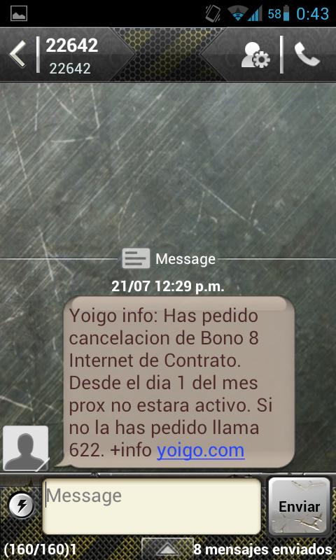 Cuarta Captura de pantalla de la conversación con Yoigo