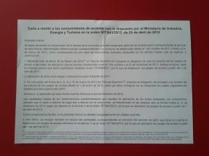 """Carta explicativa sobre """"refacturaciones"""" en el consumo eléctrico"""