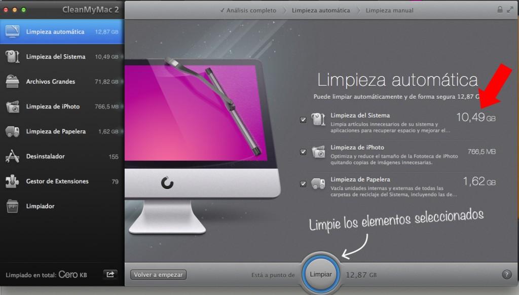 Imagen que muestra el espacio para limpiar en OSX