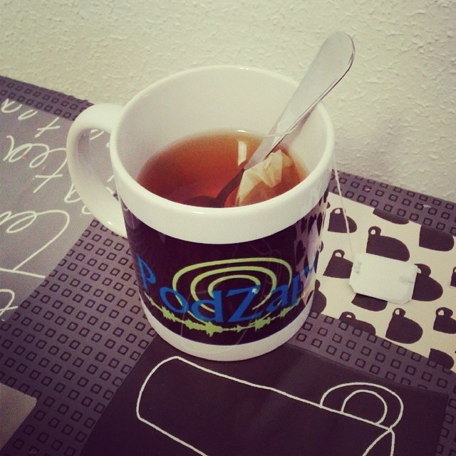 Relaxing tea with a podcasting cup ;D