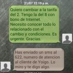 Cambiando la tarifa de Yoigo por SMS