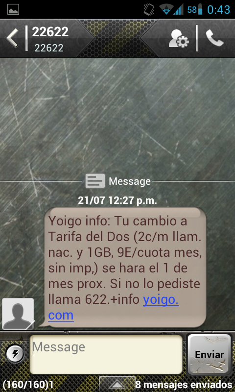 Segunda Captura de pantalla de la conversación con Yoigo