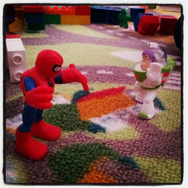Next combat... Spiderman vs. Buzz Lightyear. Fight! :D