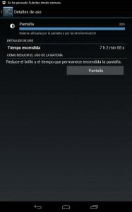 Consumo de pantalla de la batería del Nexus 7 de 2013